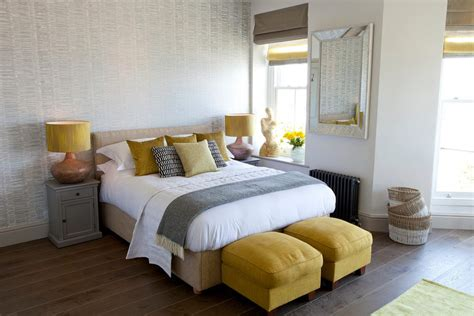 Grey contemporary wallpaper bedroom beach style with white bedding yellow and gray mustard cushions