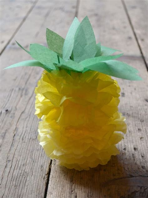 Paper Pineapple Craft - how to make a paper pom pom pineapple flamingo
