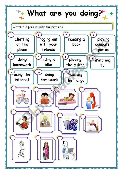 what are you doing esl worksheet by flora1