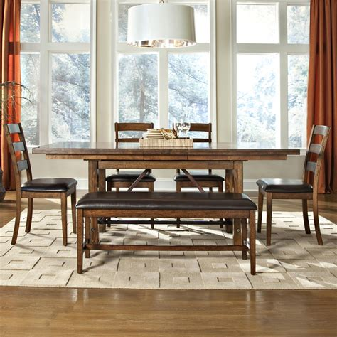 dining bench with wood seat by intercon wolf santa clara 6 piece dining table ladder back chair and