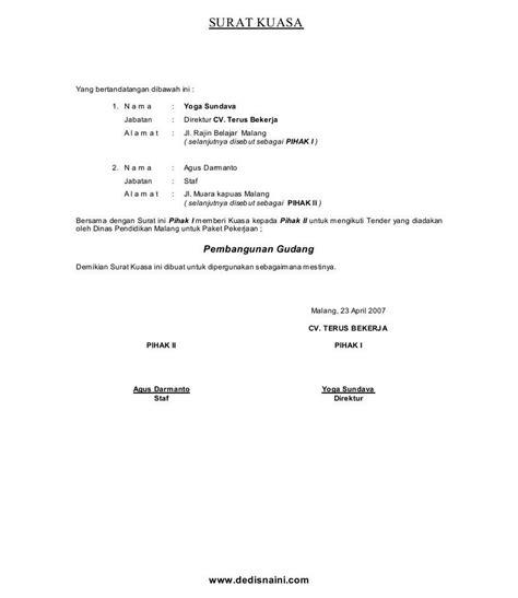 contoh surat kuasa semua jenis blog tutorial