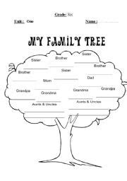 Vocabulary worksheets gt family gt family tree