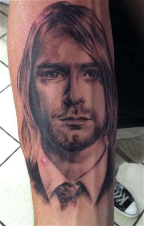arm realistic kurt cobain tattoo by chrischi77