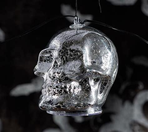 skull string lights lit silver skull string lights pottery barn