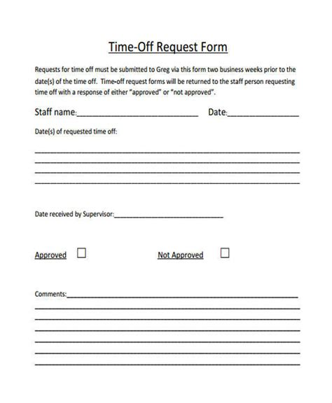 Time Request Template by 26 Time Request Forms Sle Templates
