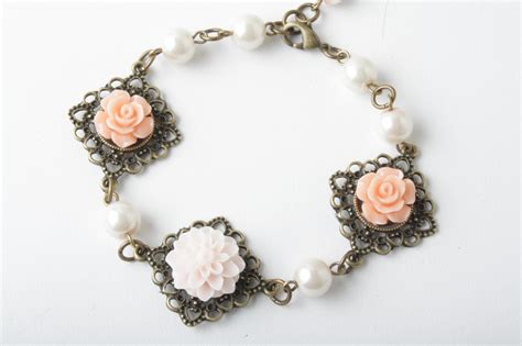 Flower Cabochon And Antique Brass Bracelet Shabby Chic