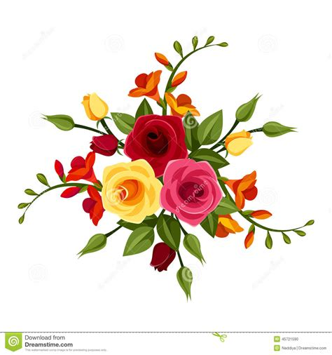 imagenes de flores rojas y amarillas red and yellow roses and freesia flowers vector