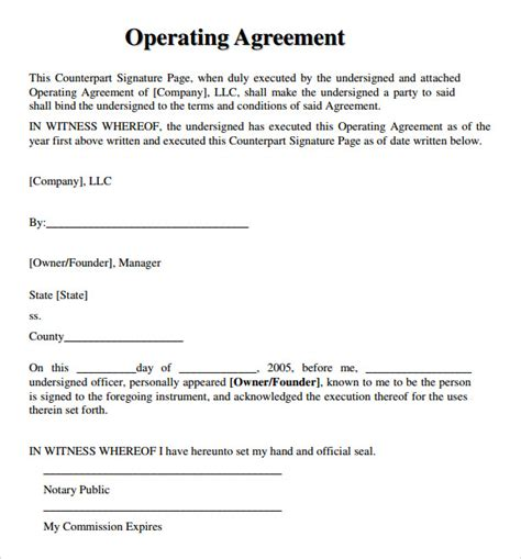 9 Sle Llc Operating Agreement Templates To Download Sle Templates Llc Ownership Agreement Template