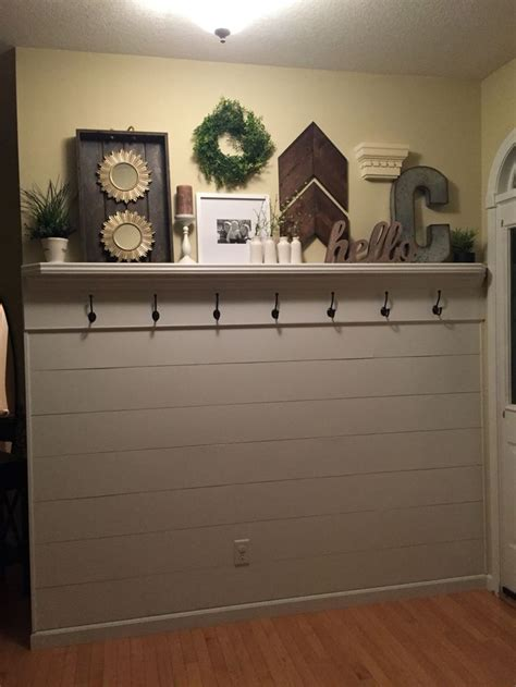 shiplap entryway  shelf  hooks mudroom decor