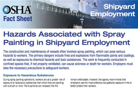 spray painting hazards osha releases fact sheet on spray painting in shipyards