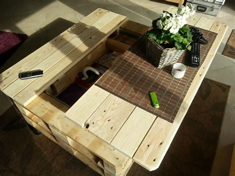 Pallet Coffee Table With Storage Slide Out And Lift How To Build A Coffee Table With Storage