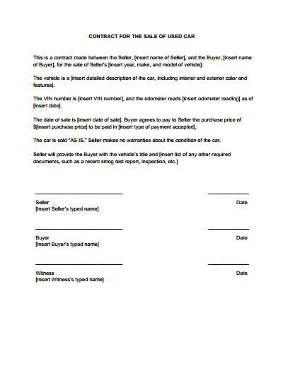 car loantract sample agreement auto form personal printable
