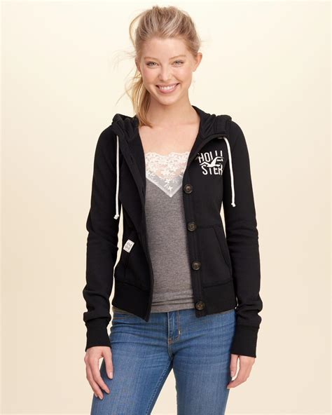 Hoodie Sweater Nf Front Logo lyst hollister button front logo graphic hoodie in black