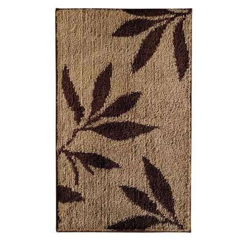 and brown rugs interdesign leaves 34 in x 21 in bath rug in brown 17411 the home depot