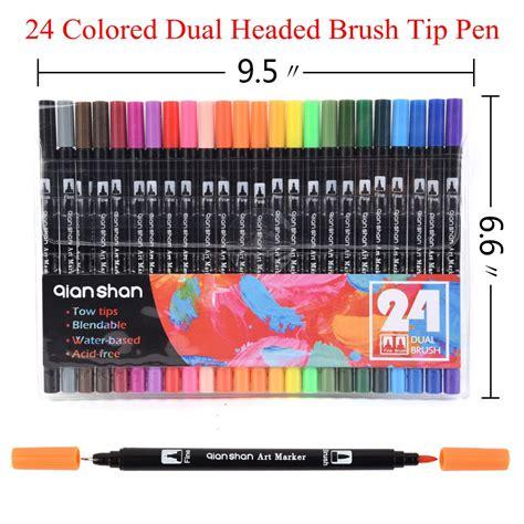 design art markers 24 colors set dual headed water based ink tip fine brush