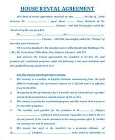 sle house rental agreement 10 exles in pdf word