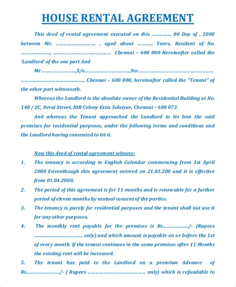 sle house rental agreement 17 exles in pdf word