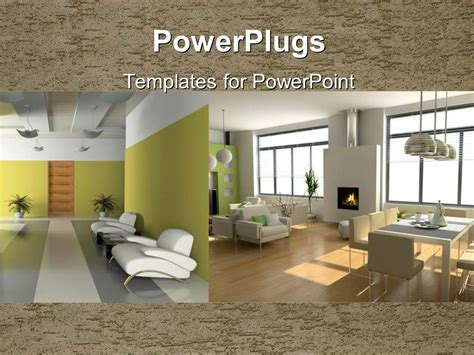 Powerpoint Template Two Depictions Of Interior Design With Armchairs Table And Chairs And Interior Design Presentation Templates