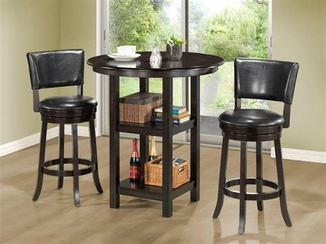 small high top kitchen table with storage and