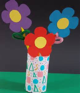 Paper Flower Craft - paper flower vase craft easycraftsforchildren