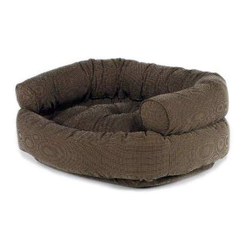 luxury houndstooth microvelvet double donut dog bed sofa