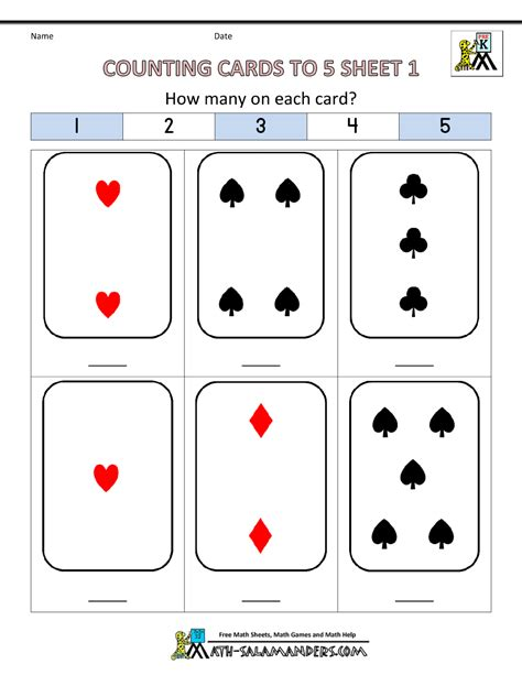 card for kindergarten preschool counting worksheets counting to 5