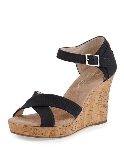 toms strappy canvas wedge sandal in black lyst