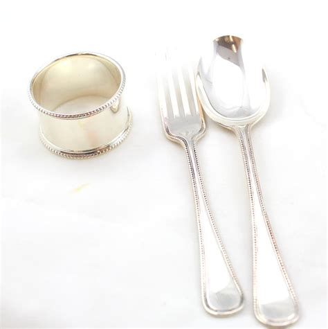 sterling silver child s cutlery and napkin ring set
