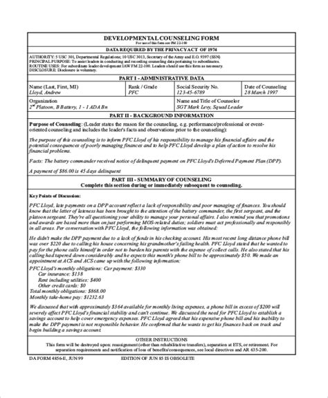 initial counseling template sle army counseling form 7 free documents in pdf doc