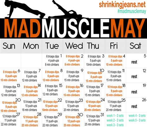 printable workout plan build muscle happy may day your muscles will be thanking you after you