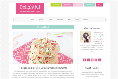 girly wordpress themes delightful pro an ecommerce genesis child theme