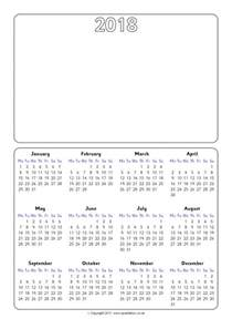 Calendar 2018 Year To View 2018 Year To View Picture Calendar Sb12101 Sparklebox