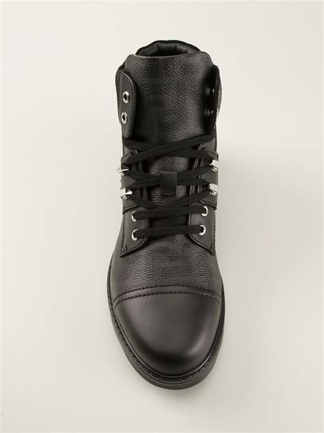 fendi boots for fendi ff logo hiking style boots in black for lyst
