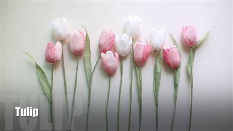 How To Make Tulips Out Of Tissue Paper - how to make crepe paper flower tulips easy simple