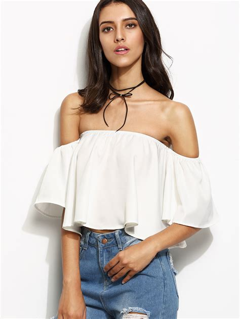 Shoo And Shoulders white ruffle the shoulder blouse leopard trim blouse