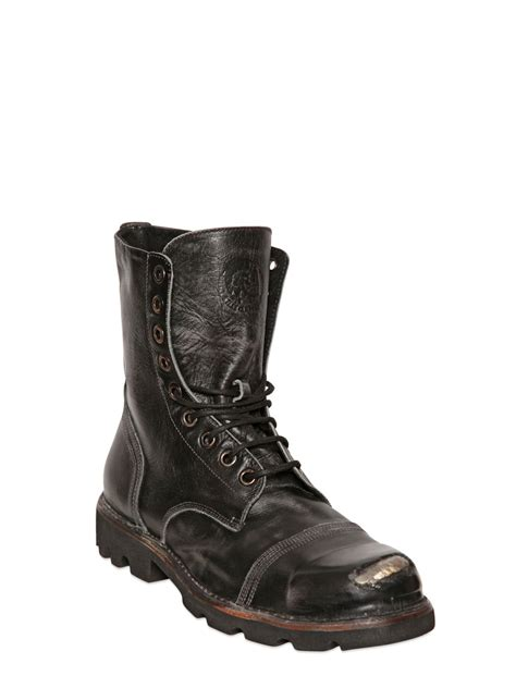 diesel boot lyst diesel leather lace up boots in black for