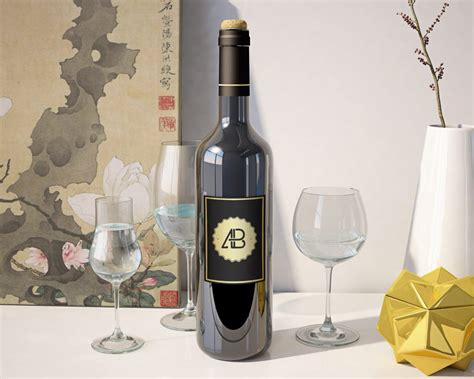 table wine brown bottle mockup mockupworld