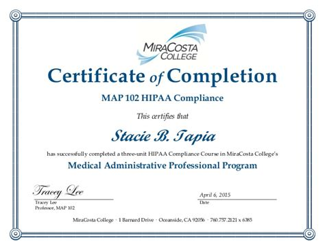 hipaa certification letter hipaa certificate template doc sle certificate hipaa sle hipaa
