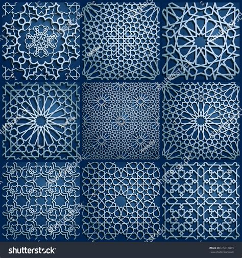 traditional islamic pattern vector set islamic oriental patterns seamless arabic stock vector