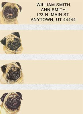 pug address labels pug gifts by yuckles