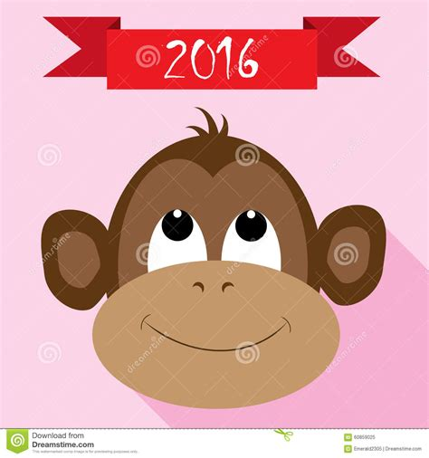 new year monkey icon monkey icon with new year ribbon stock vector image