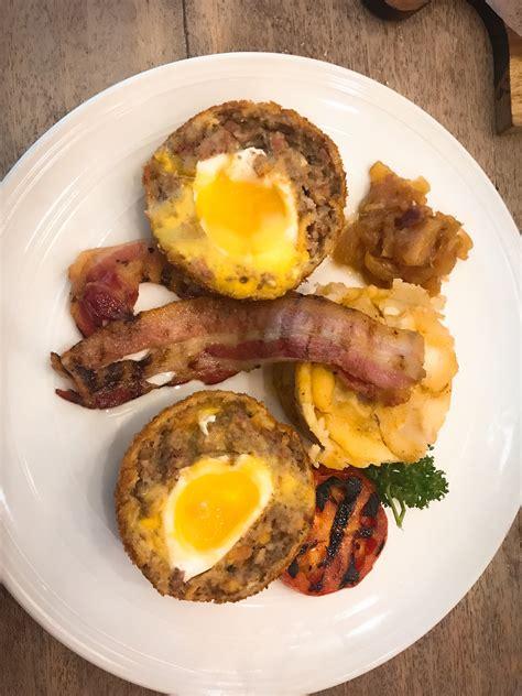 early bird bacon pineapple scotch egg adventurercai