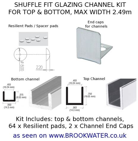 Shuffle Fit Glazing Channel Kit 8 10mm 2.49M Polished