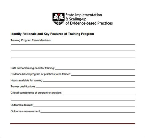sample training plan templates  ms word pages
