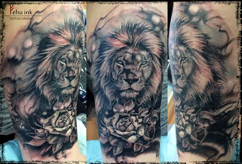 lion rose tattoo and by ellegottzi on deviantart