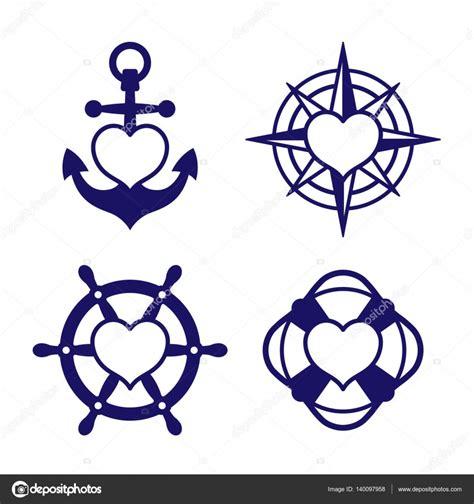 Anker Herz by Marine Herz Icon Set Anker Und Kompass Stockvektor