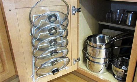 evelots storage rack for pot and pan lids groupon