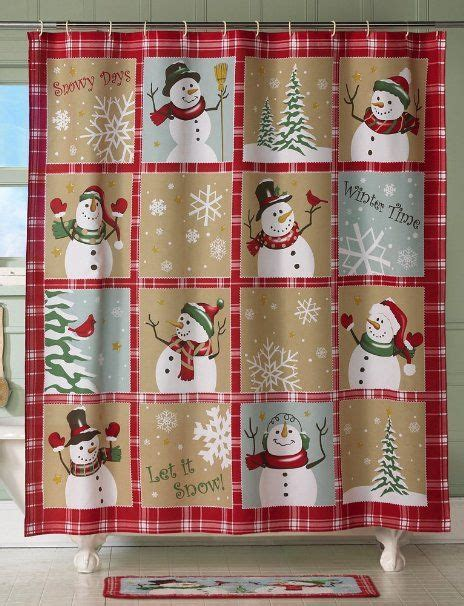country christmas shower curtain com collections etc snow time country snowman