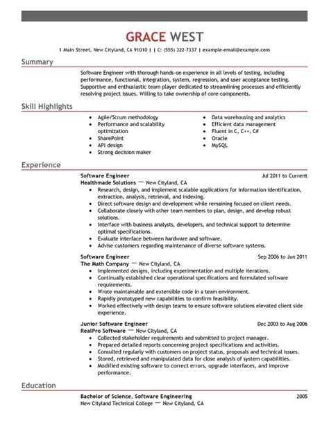 Sample Resume For Experienced Software Engineer Pdf by Best 25 Resume Examples Ideas On Pinterest Resume Tips