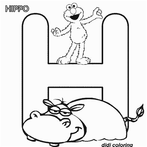 letter h coloring pages for toddlers printable preschool alphabets uppercase letter h hippo